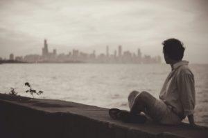 seaside, man, sitting